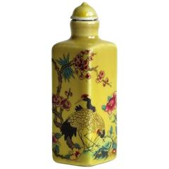 Chinese Snuff Bottle, Porcelain, Hand Painted Cranes, circa 1920