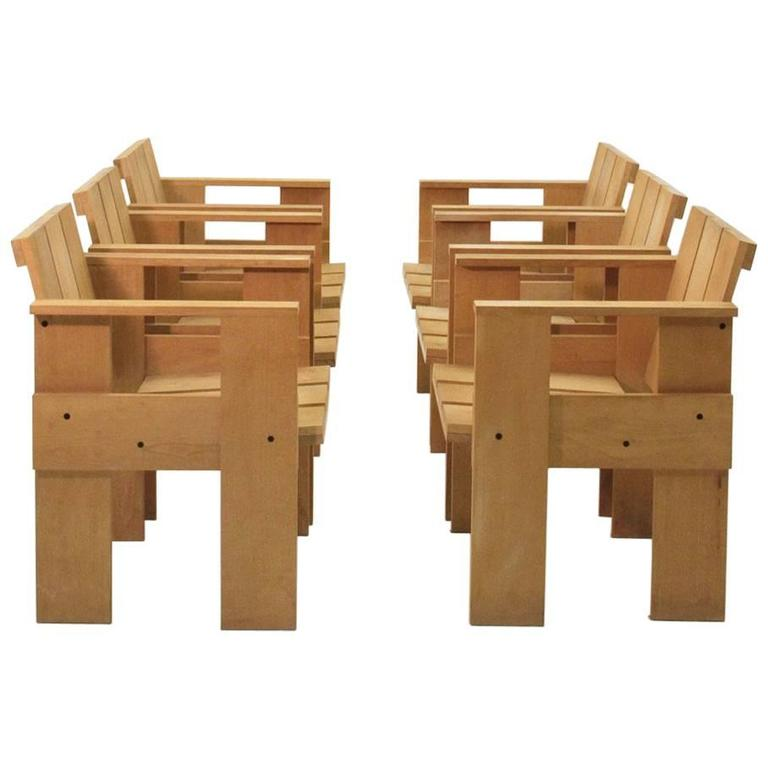 Set Of Six Crate Chairs By Gerrit Rietveld For Cassina For Sale