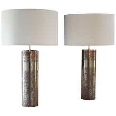 Round Etched Brass Table Lamp patinated, Model Aban by Arriau