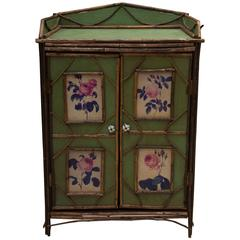 19th Century Green Painted Cottage Cabinet
