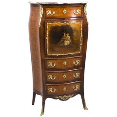 19th Century French Vernis Martin & Parquetry Secretaire