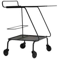 Mathieu Mategot, Serving Cart, Tea Trolley, Lacquered black metal, France, 1950