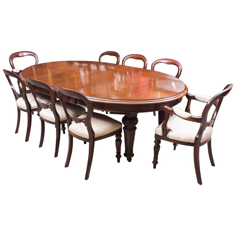 Antique Dining Room Table Chairs: Antique Victorian Oval Dining Table And Eight Chairs