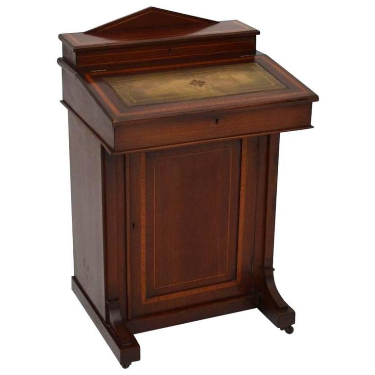 Antique Edwardian Inlaid Mahogany Davenport Desk
