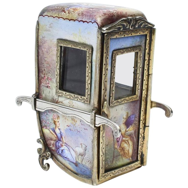 Antique Miniature Austrian Or Vienesse Enamel And Silver Sedan Or Carriage For Sale At 1stdibs