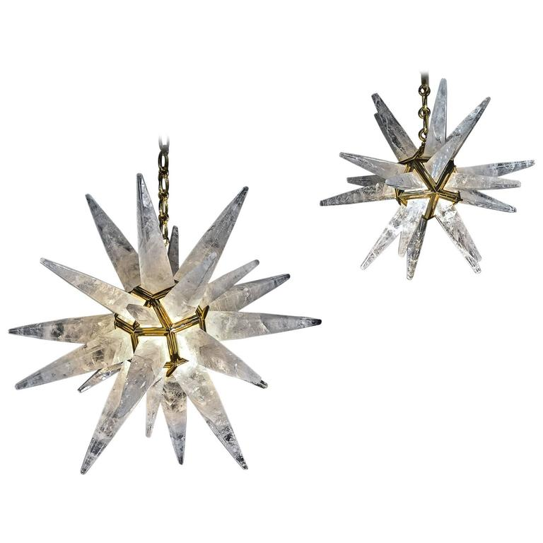 Rock Crystal Star Chandeliers by Alexandre Vossion