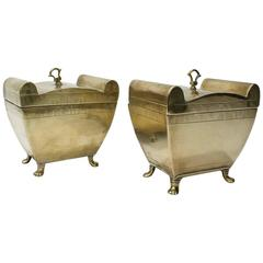 Matched Pair of English Colonial or Anglo-Indian Brass Tea Caddies