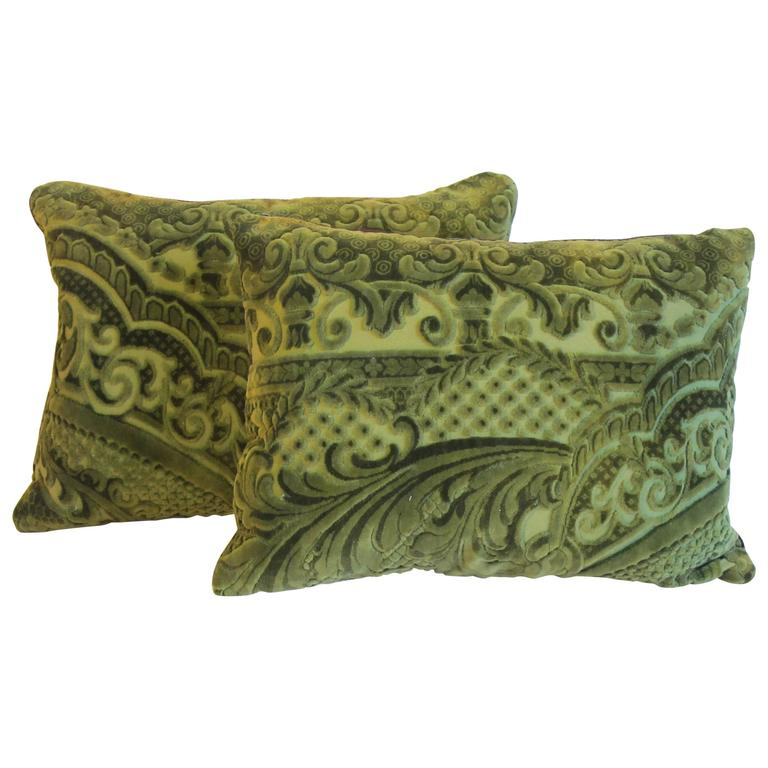 19th Century French Voided Velvet Pillows by Mary Jane McCarty For Sale