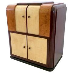 Italian Parchment and Mahogany Bar Cabinet, 1930s-1940s