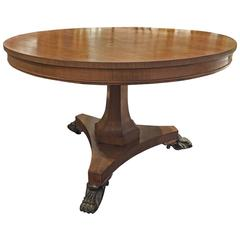 Round Swedish Antique Table in Walnut, from 1910