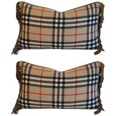 Pair of Vintage Burberry Wool Pillows by Mary Jane McCarty