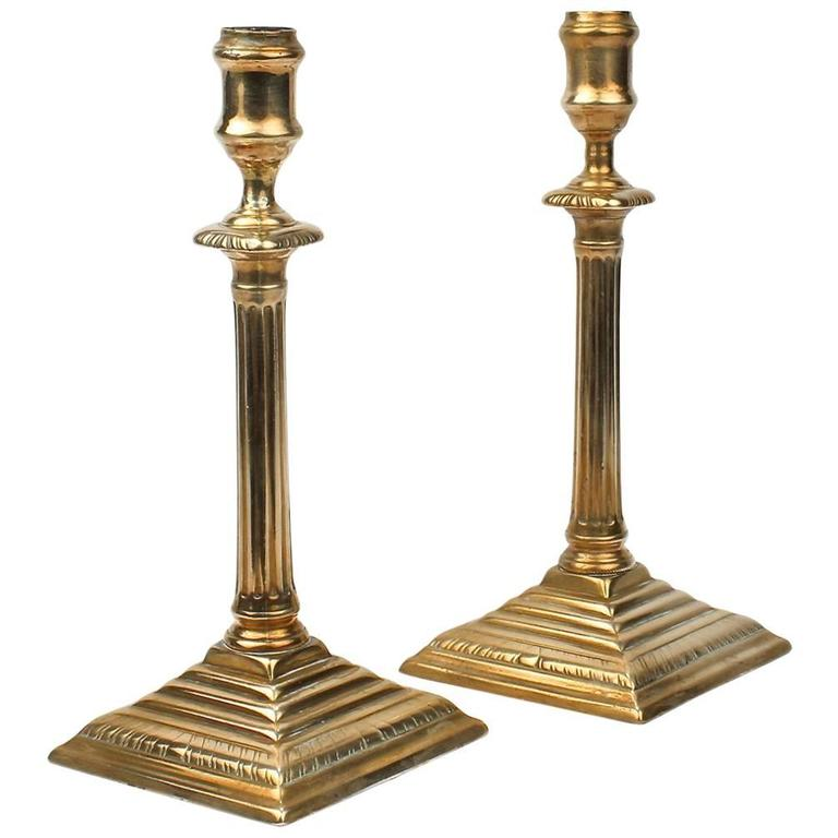 Pair of English Neoclassical George III Brass Candlesticks, 18th Century