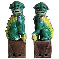 Pair of Chinese Foo Dogs, Porcelain, Hand Enamelled, circa 1920
