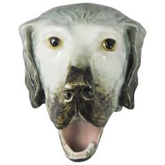 Majolica Dog Head, circa 1900