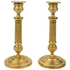 Pair of Finely Cast Dore Gilt Bronze French Empire Style Candlesticks