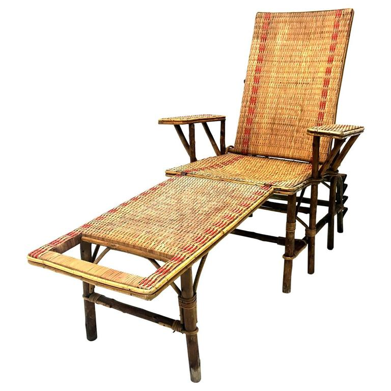 French wicker and bamboo chaise longue with footrest for Chaise longue rattan