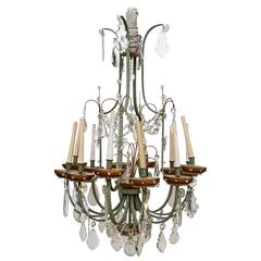 Louis XV Style Wrought Iron Candelabra with Crystal Pendants, 20th Century