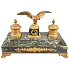 19th Century French Gilt Bronze and Marble Inkwell with Eagle
