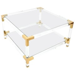 Large Maison Jansen Lucite and Brass Coffee or Cocktail Table