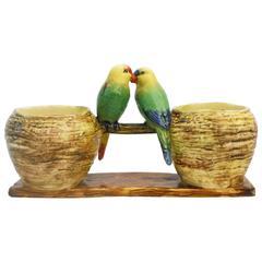 19th Majolica lovebirds parakeets double vases delphin Massier
