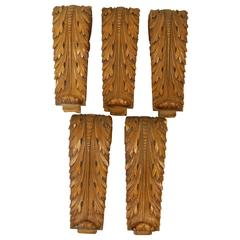 Set of Five Beechwood Carved Brackets, circa 1920s