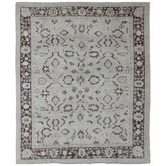 Square Vintage Turkish Oushak Rug with Brown and Grey Tones
