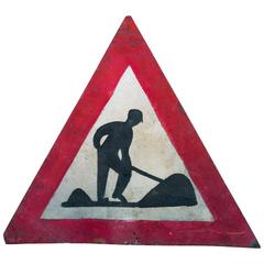 Graphic French Hand-Painted Red and Black Triangle Road Safety Sign, circa 1930