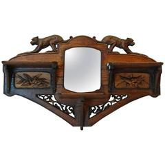 Carved Oakwood Wall-Mounted Shaving Mirror with Flip-Up Shelves, circa 1890