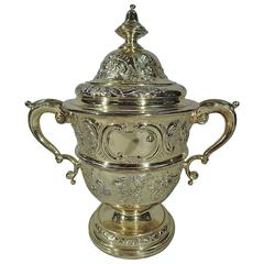 Richly Gilt English Sterling Silver Trophy Cup