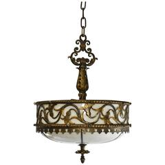 Gothic Revival Hammered Finish Bronze and Slag Glass Three Socket Chandelier