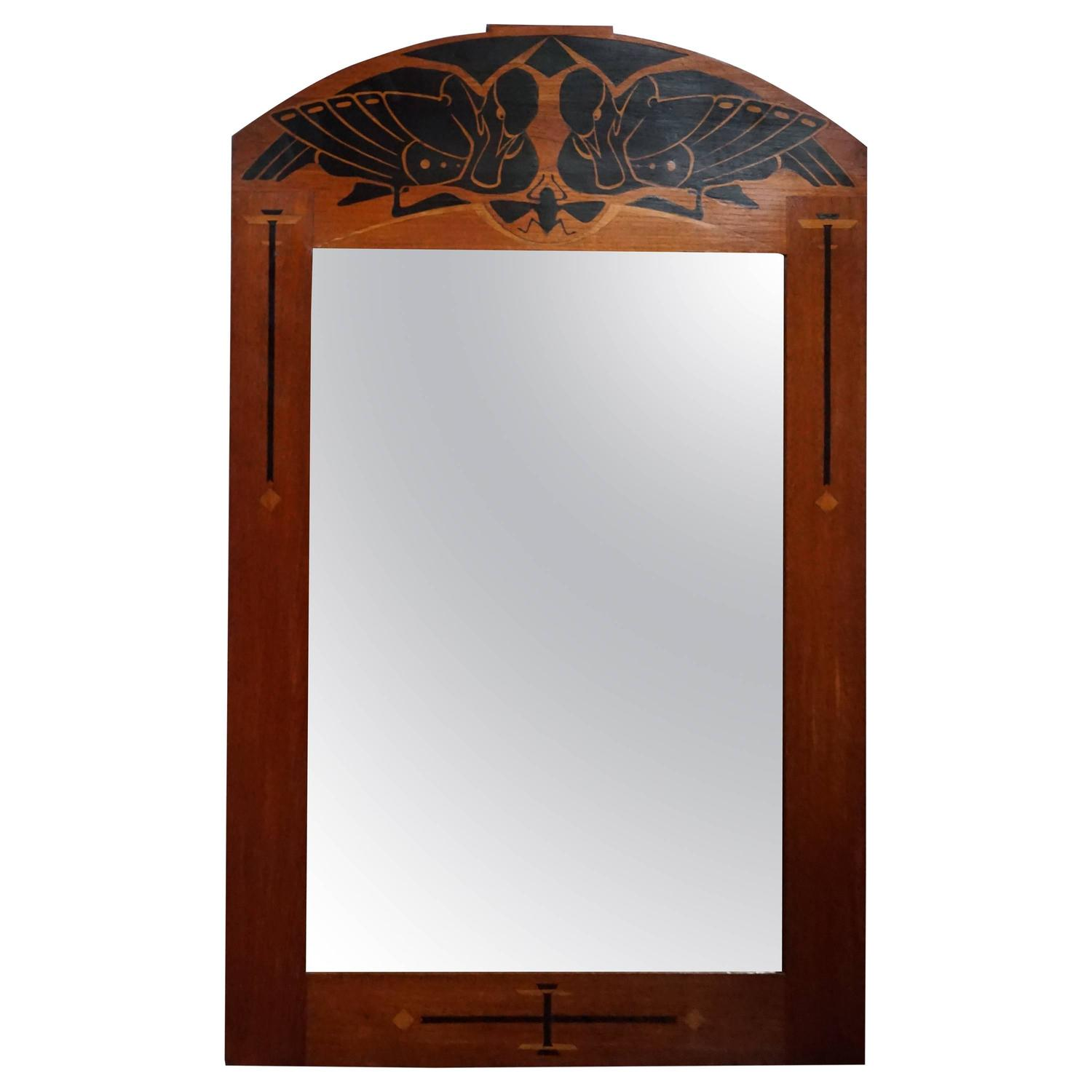 Arts and crafts mirrors - Arts And Crafts Inlaid Mirror With Pair Of Ducks Amp Insect Attr Napoleon