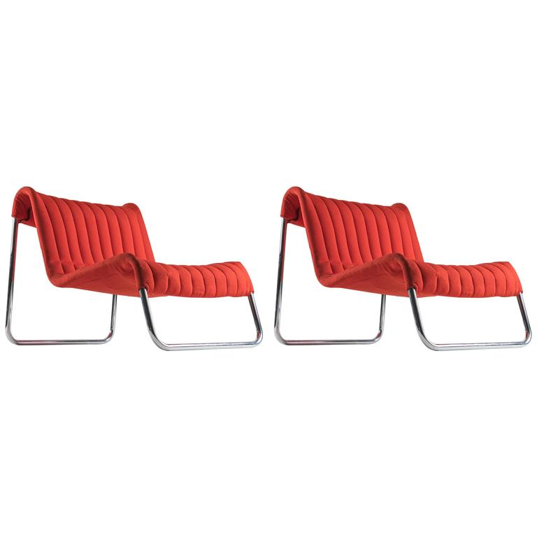 """Pair of """"Duecavalli"""" Lounge Chairs by De Pas, Lomazzi, D'Urbino for Driade"""