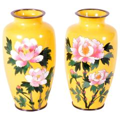 Pair of Japanese Cloisonné Vases with Peony Motif