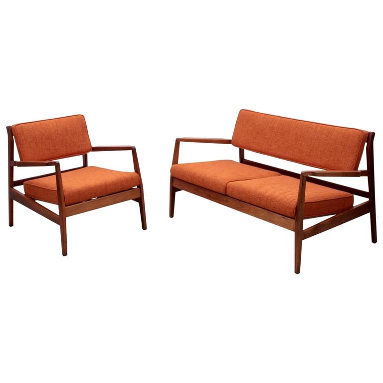 New Upholstered Jens Risom Sofa Set with Missoni Fabric