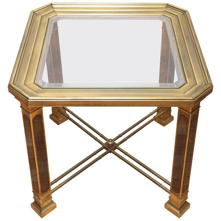 Vintage Mastercraft Brass Side Table For Sale