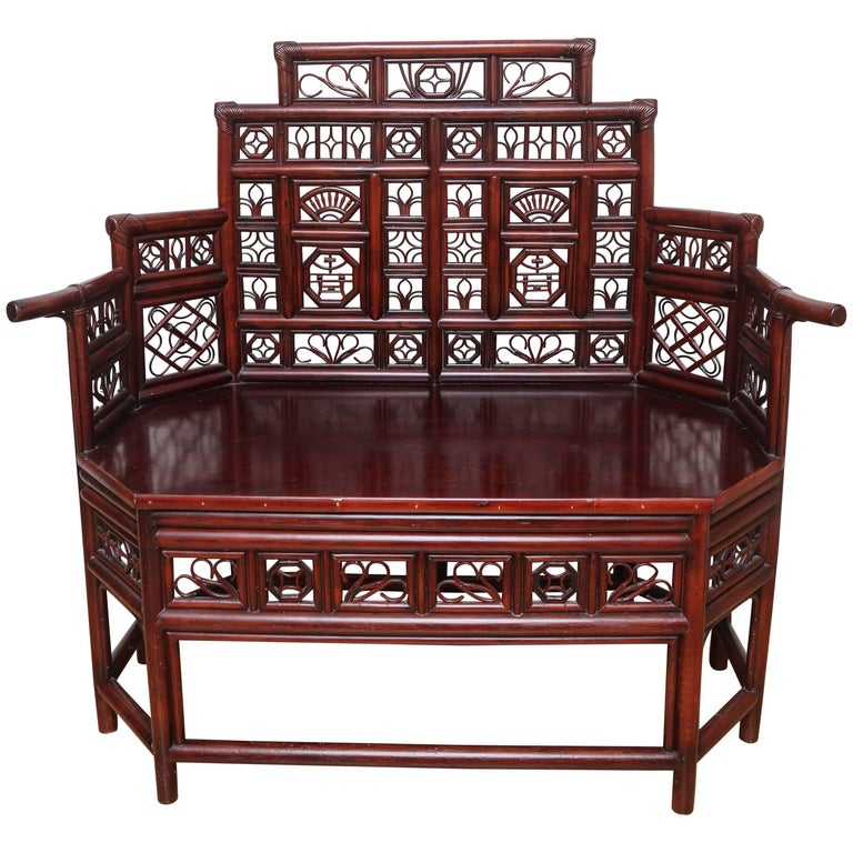 Vintage Rattan Pagoda Style Settee For Sale