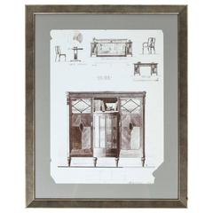 """Vintage Book Page of Furniture Study """"No. 198"""", Newly Framed"""