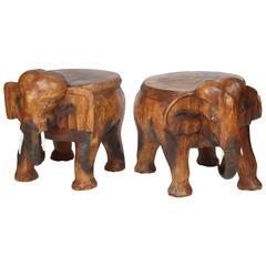 Pair of Vintage Carved Wood Elephant Stools