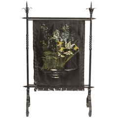1920s Wrought Iron Leather Firescreen with Painted Mural