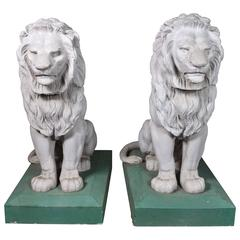 1927 Pair of Lions from a Bel Air Italian Villa