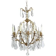 1970s Eight-Light Bronze and Crystal Chandelier
