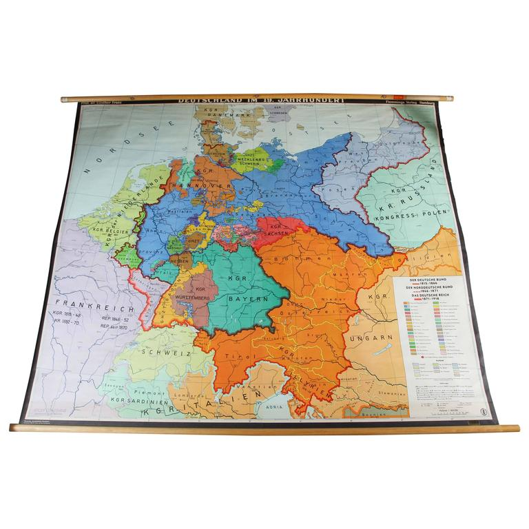 Map Of Germany For Sale.German Historical Map In Full Color Spanning 1815 1918
