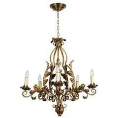 1940s Five-Light Gold Painted Wrought Iron Chandelier with Decorative Leaves