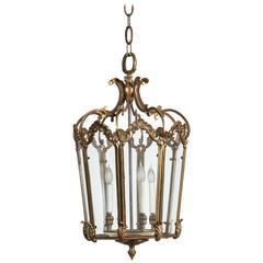 1960s Four-Light Cast Bronze Floral Lantern