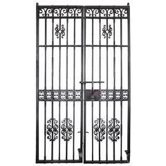 1910 Pair Wrought Iron Gates by Samuel Yellin with Cat Motif from Philadelphia