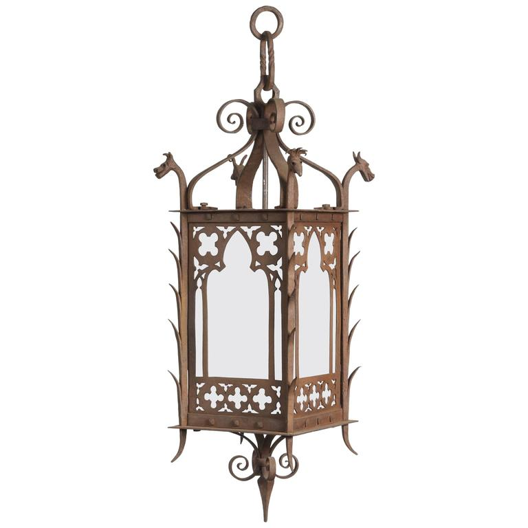 gothic lantern lighting. 1920s Hand-Wrought Gothic Lantern With Four Dragon Heads Milk Glass Panels For Sale Lighting
