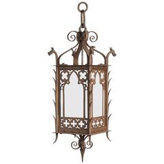 1920s Hand-Wrought Gothic Lantern with Four Dragon Heads with Milk Glass Panels