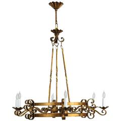 1970s Six-Light French Gold Finish Wrought Iron Chandelier