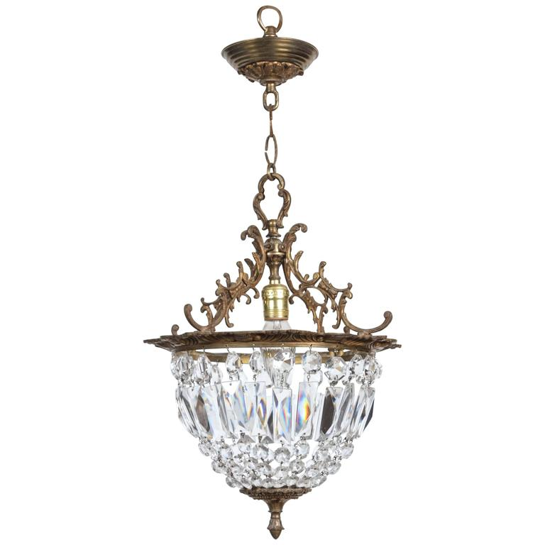 1940s Crystal And Bronze Basket Pendant Light With Bronze