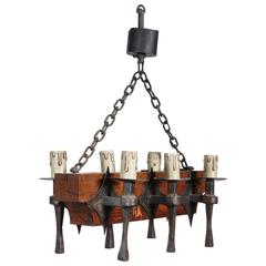 Six-Light Wrought Iron and Oak Chandelier